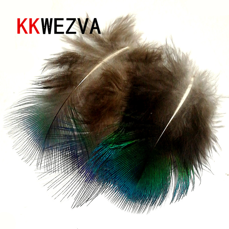 KKWEZVA 50PCS Small Fly Tying Peacock Feathers Blue Irridescent Body plummage Tail Throat Check Tag fishing lures Material
