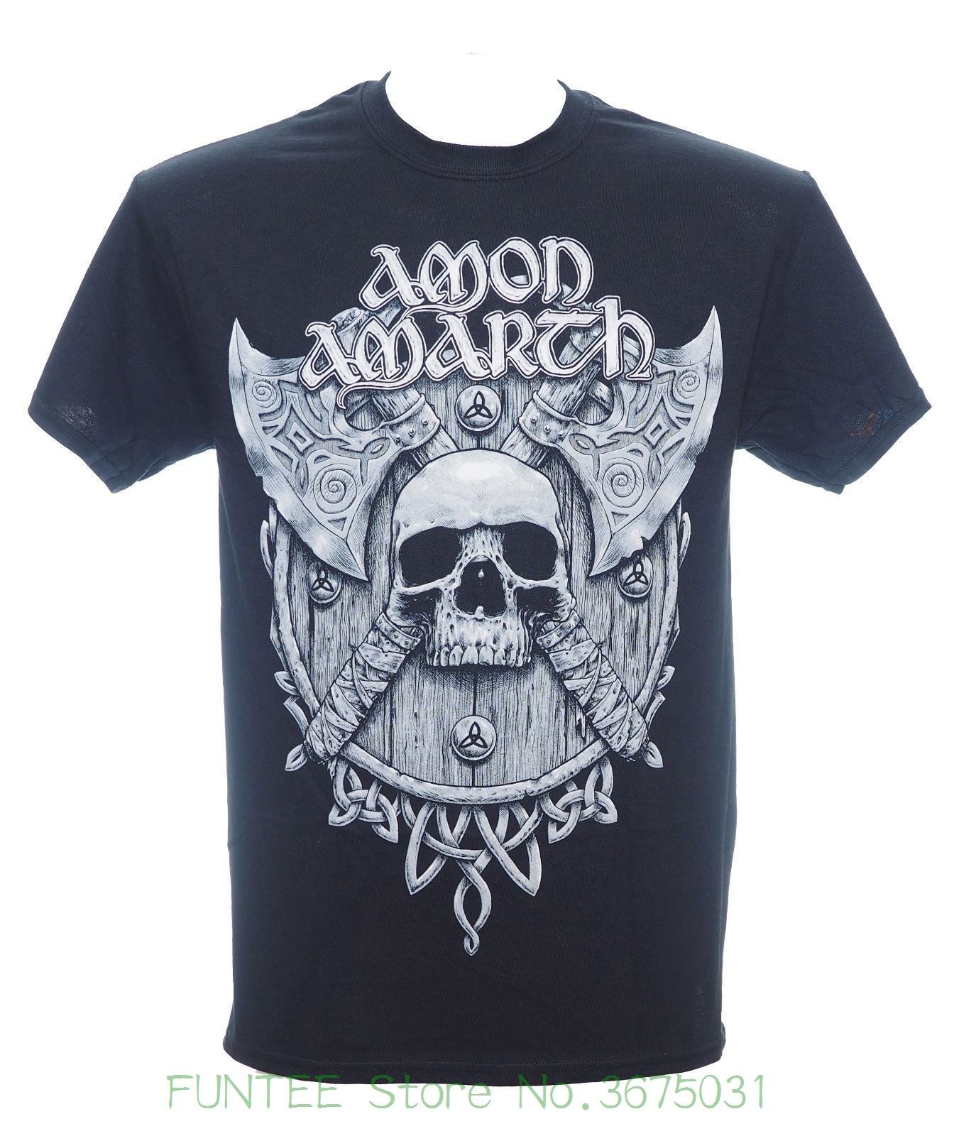 Short Sleeve Mens Formal Shirts Amon Amarth - Grey Skull And Shield T-shirt - Size Medium M - Viking Death Metal