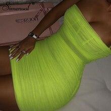 Simenual Neon Green Sexy Hot Dress Women Spaghetti Strap Party Dresses Summer Clubwear Ruched Mesh Transparent Sleeveless