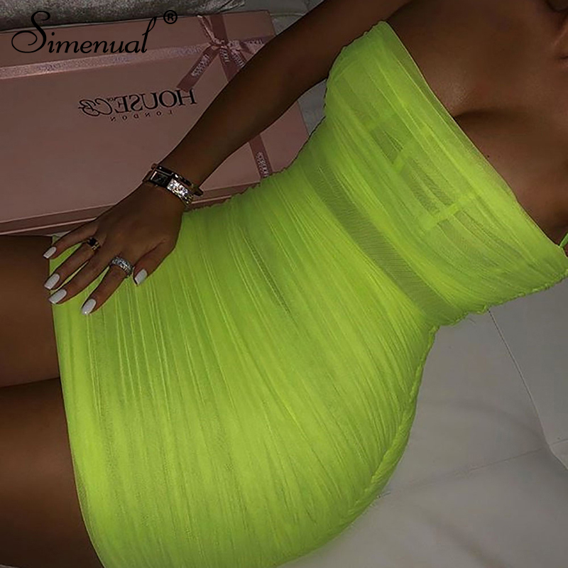 Simenual Neon Green Sexy Hot Dress Women Spaghetti Strap Party Dresses Summer Clubwear Ruched Mesh Dress Transparent Sleeveless