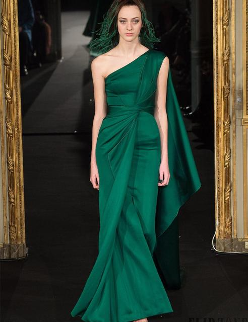 Party 2016 Mermaid Green Long Evening Gowns One Shoulder Pleats ...