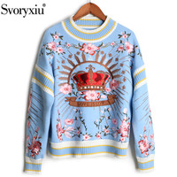 Svoryxiu 2018 Runway luxury Winter Knitting Pullovers Women's High Quality Floral Crown Embroidery Casual Loose Blue Sweater
