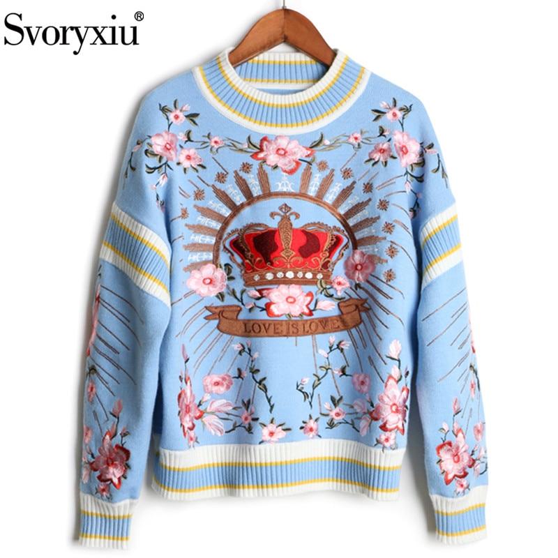 Svoryxiu 2018 piste de luxe hiver tricot pulls femmes de haute qualité Floral couronne broderie décontracté lâche bleu chandail