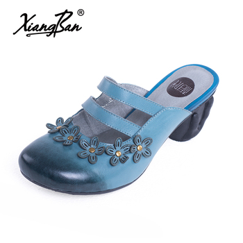 Summer Elegant Mules Shoes Slides Genuine Leather Outdoor Slipper High Heel Flip Flops Woman Round toe Shoes Sandals Blue