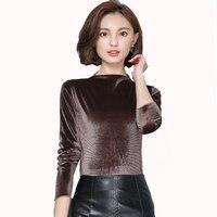 Korean Women Long Sleeve Velvet Slim Blouses Shirts Camisa Mujer New Autumn Winter Women Ladies Elegant