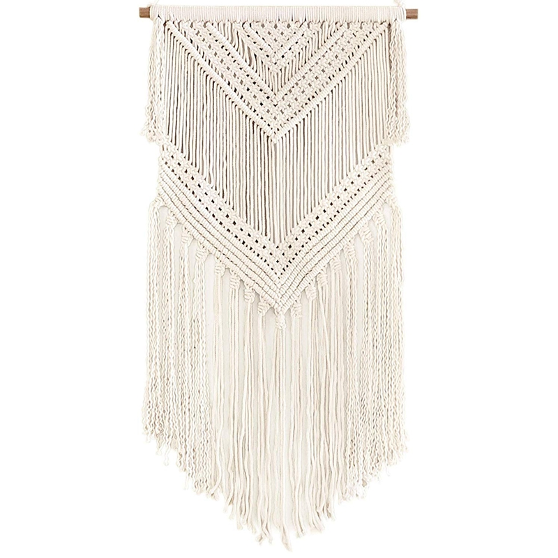 New Boho Macrame Woven Wall Hanging Beige 16 X 36 Inch Modern Bohemian Tapestry Wall Art Decor For House, Apartment, Dorm, Bed