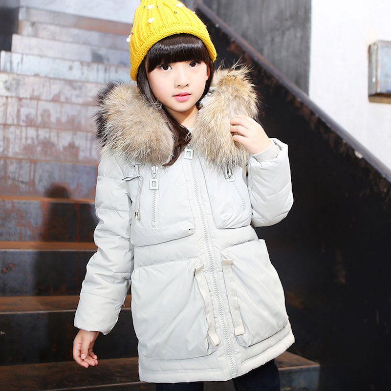 ФОТО 2016 new girls down jacket winter thicken jackets for girl coats fur collar hooded girl's coat outerwear children's clothes