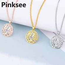 Hot Tree of Life Round Small Pendant Necklace Gold Silver Colors Bijoux Collier Elegant Women Jewelry Gifts Drop shipping