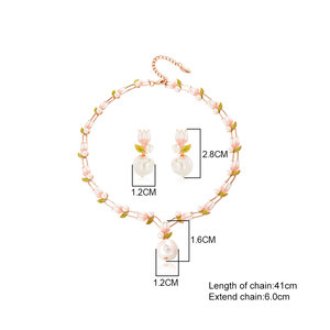 Image 5 - Viennois Fashion Pearl Jewery Set Rose Gold Flower Design Simulated Pearl Necklace and Earring Jewelry Set For Women Bridal Set