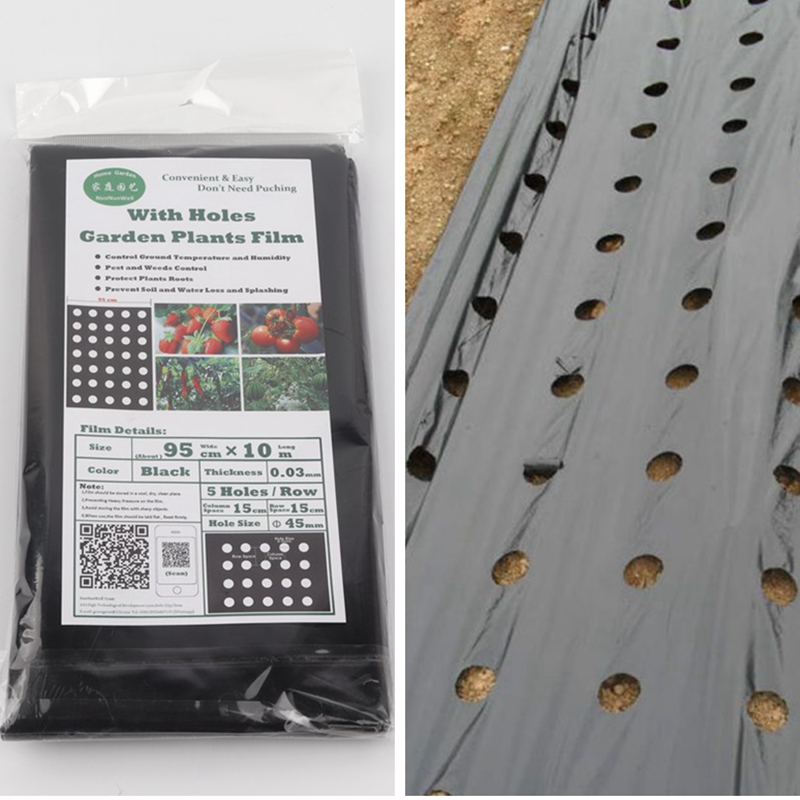 95 см * 10 м 0,03 мм 5 отверстий черная мульчирующая пленка садовые растения Пластик перфорированая полиэтиленовая пленка мульчирование Мембран...