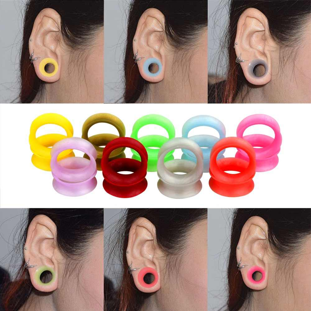 """PAIR-Flexi Star White on Black Double Flare Silicone Ear Plugs 14mm//9//16/"""" Gauge"""