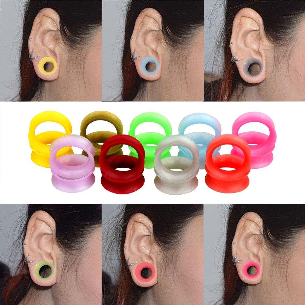 1 Para Silikon Flexible Dünne Doppel Ausgestelltes Ohr Stecker Flesh Tunnel Ohr Expander Bahre Earlets Ohrringe Body Piercing Schmerzen Haben