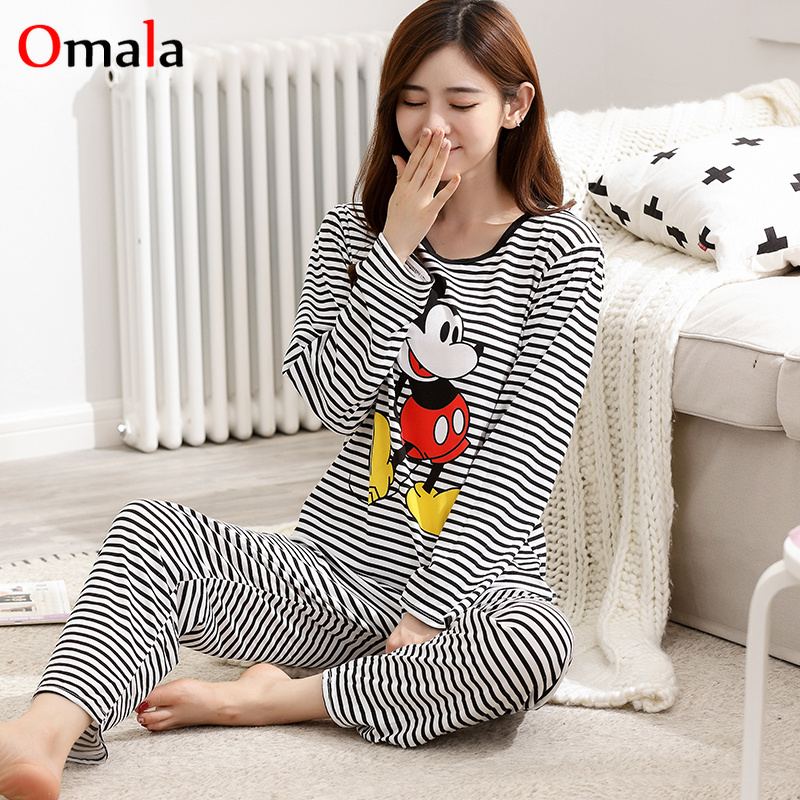 Wholesale   Pajama     Sets   Spring Autumn Thin Cartoon print Women   pajamas   Long sleeve pijama mujer Home Women Gift Female Sleepwear
