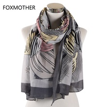 FOXMOTHER New Vintage Grey Floral Bufanda Mujer Flower Foulard Pashmina Evening Wraps Scarves Ladies  Autumn And Winter Scarfs