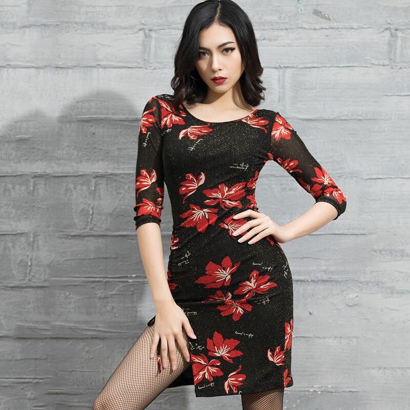 New Latin Dance Dress Women Black Mmiddle Sleeve Dress Flamengo Tango Dress Modern Salsa Competitive Red Latin Dresses BL1707