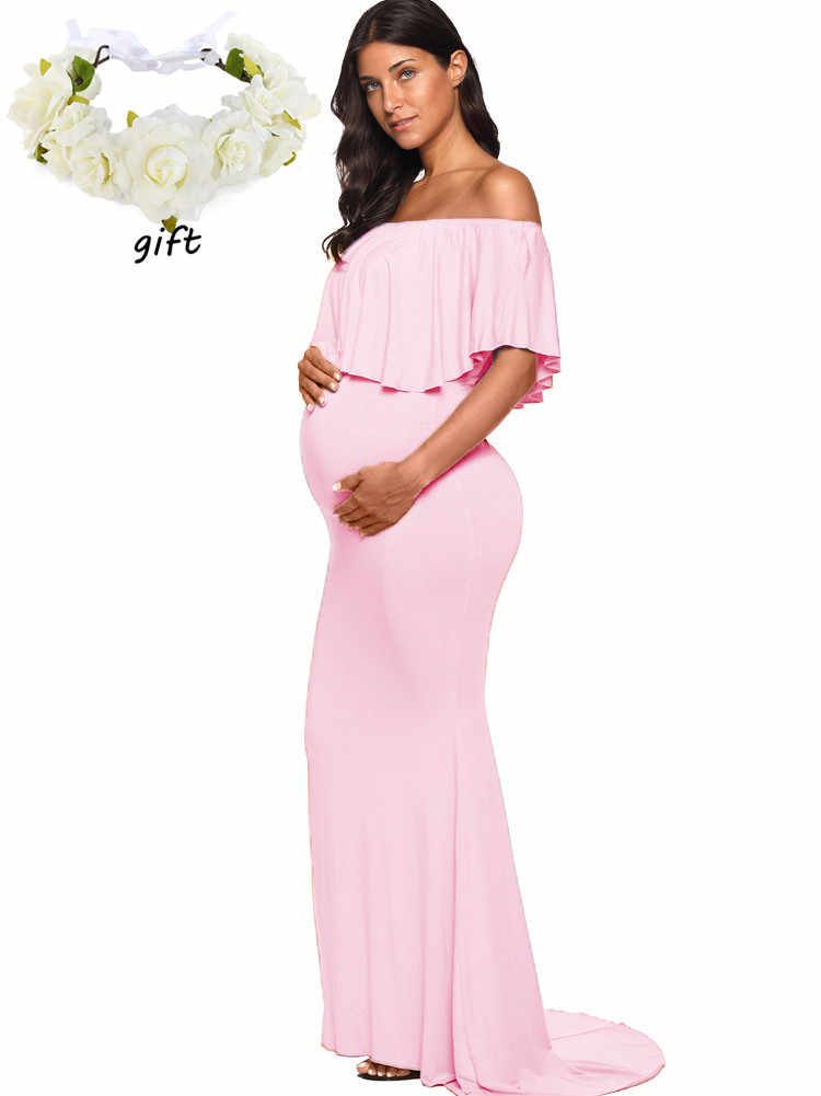 fd531a85ee7bf ... Buy One Get One Womens off Shoulder Ruffles Maternity Dresses Pregnancy  Clothes Dress Women Nursing Photo ...