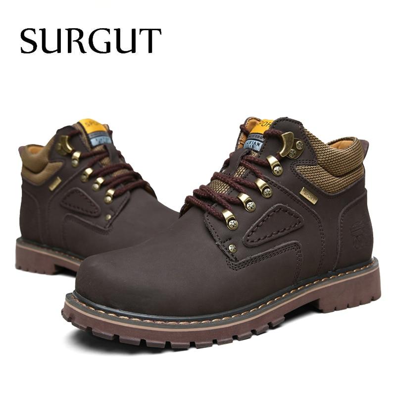 SURGUT Brand Super Warm Men's Winter Leather Men Waterproof Rubber Snow Boots Leisure Boots England Retro Shoes For Men Big Size