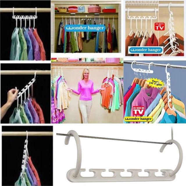 Useful Space Saver Wonder Clothes Hangers Magic Closet Organizer Hooks  Racks X1