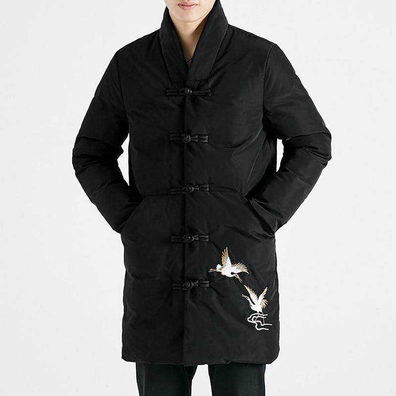 2019 nouveau style de la chine parka manteau rouge-couronné grue broderie longue veste noire simple boutonnage écharpe col veste d'hiver hommes