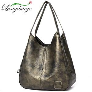Image 2 - 2019 Vintage kadın omuzdan askili çanta kadın nedensel tote çanta büyük kapasiteli lüks tasarımcı yüksek kaliteli bayan çanta kesesi Femme