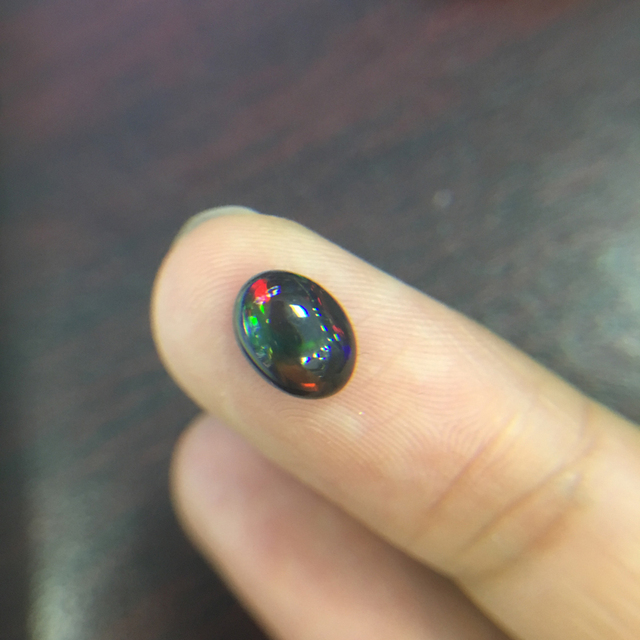 Natural ethiopian colorful black opal oval 7*9mm top quality natural precious loose gemstones for 925 sterling silver jewelry 1
