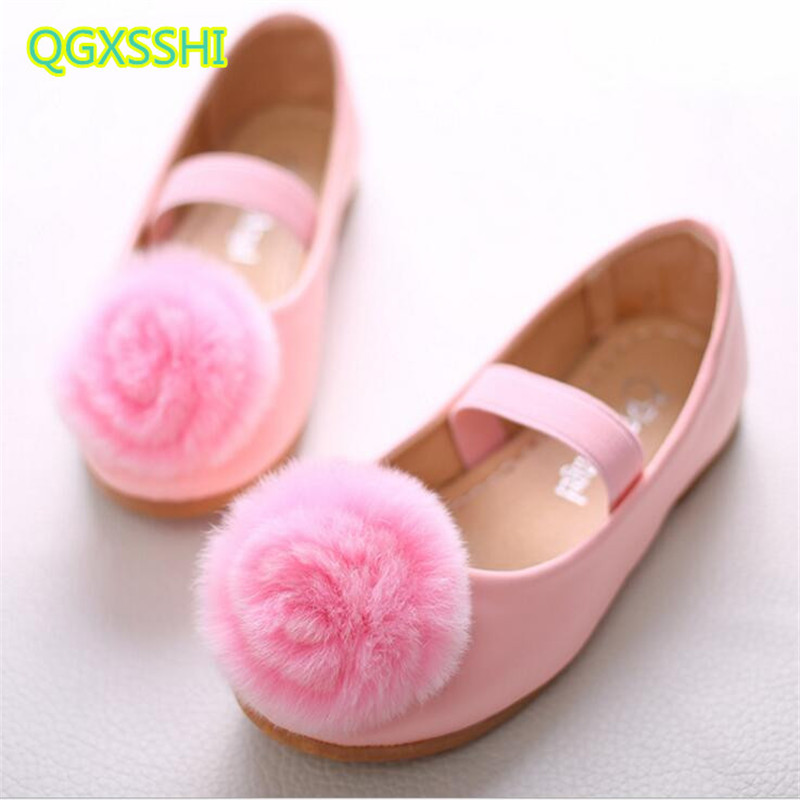 QGXSSHI Mink Hair Hairball Flat Girls Princess Shoes 2017 Autumn New Student Dance Performance Kids Dress Leather Shoes