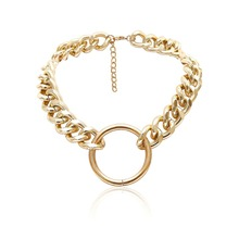Ladies Round Circle Pendant Necklace Thick Chain Sweater Jewelry Gifts Collares Mujer Punk necklace