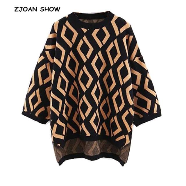 412f42f4673bbc Vintage O neck Hi-Lo Hem Geometric Plaid Sweater Black Long Drop sleeve  Knitwear Causal 2018 New Women Knitted Jumper kleding
