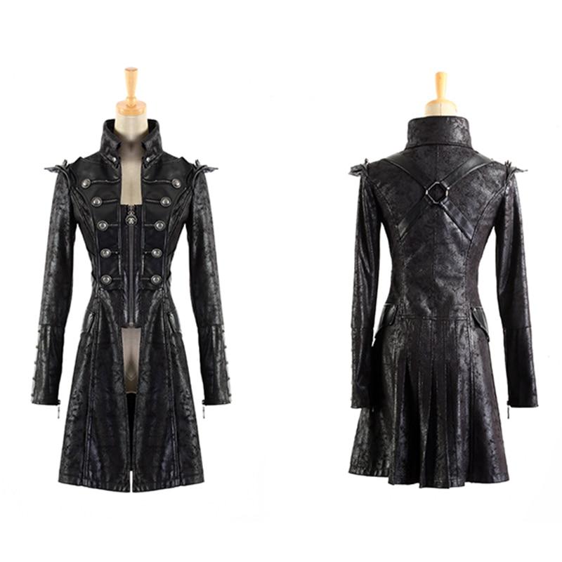 hot sale online fb1dd 7197c US $134.0 |Steampunk Millitary Gothic Cappotto Femminile Maniche Lunghe  Vento Giacca di Pelle Per Le Donne 2017 Esercito Lungo Giacche A Vento  Giacche ...