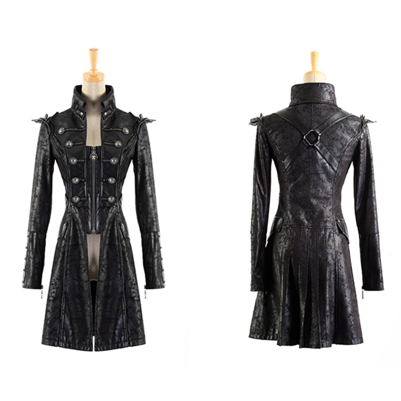 Steampunk Millitary Gothic Coat Female Long Sleeves Wind Leather Jacket For Women 2017 Army Long Windbreakers Womens Jackets
