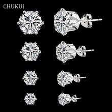 CHUKUI 925 Sterling Silver Earrings For Women Jewelry Classic Stud Earrings Silver For Girl Cubic Zircon Ear Earring Brinco