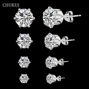 CHUKUI 925 Sterling Silver Earrings For Women Jewelry Classic Stud Earrings Silver For Girl Cubic Zircon Ear Earring Brinco