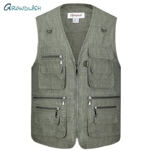 Grandwish Summer Casual Large Size Olympina Mens Blue Vests Male Sleeveless Zipper Waistcoats Comfortable Plus XL-5XL,DA755