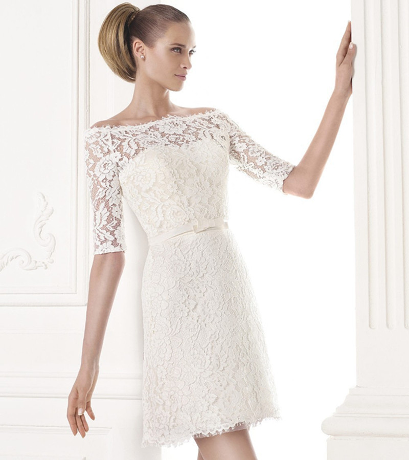 2015 new cheap lace short wedding dresses vintage half for Wedding dresses boston cheap