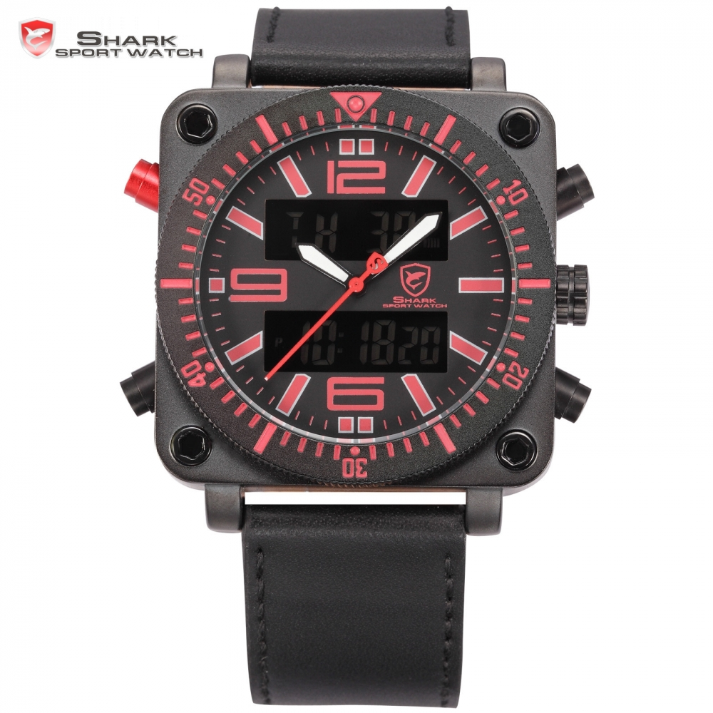 SHARK Sport Watch Red Square Stainless Steel Case Chronograph Dual Movement Date Day Relogio Men LCD Digital Army Clock / SH128 splendid brand new boys girls students time clock electronic digital lcd wrist sport watch