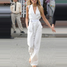 SONDR 2019 summer new fashion strappy show leg long V neck high waist sleeveless casual jumpsuit women