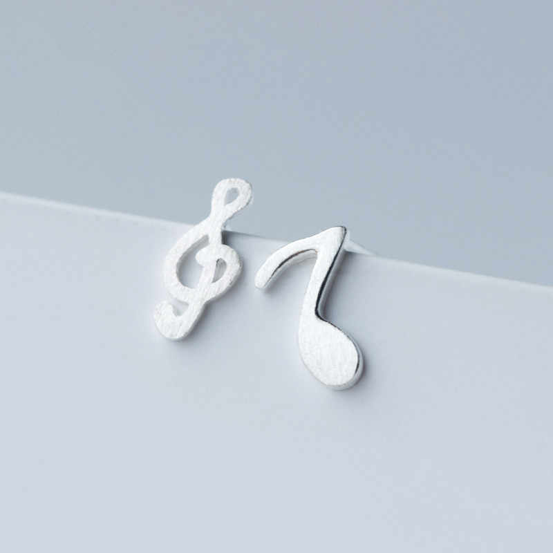 100% 925 Sterling Silver Asymmetry Music Stud Earrings For Women Prevent Allergy Brincos pendientes mujer moda 2018 A112