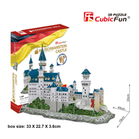 CubicFun Germany Building Puzzle Toy DIY 3D Paper Puzzles Mini Neuschwanstein Castle Model Assembled Toys For