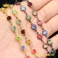 5meter Flower Glass Crystal Bead Body Chain,Gunmetal/Gold Copper Beaded Glass Chain Summer Boho Necklace Bracelet Findings ZJ333
