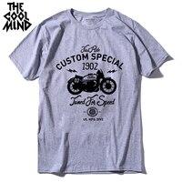 COOLMIND MO0311 100% хлопок короткий рукав специальный мотор принт мужская футболка Повседневная крутая мужская футболка Летняя мужская футболка с ...