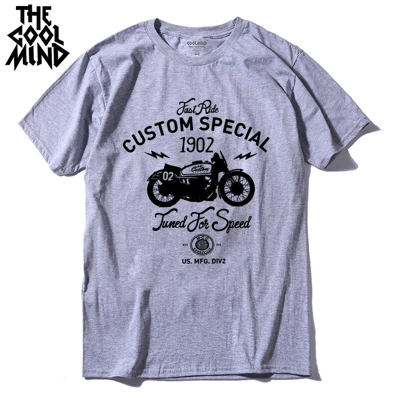 COOLMIND MO0311 100% cotton short sleeve special motor print men   T     shirt   casual cool men Tshirt summer o-neck men   t  -  shirt   pthd