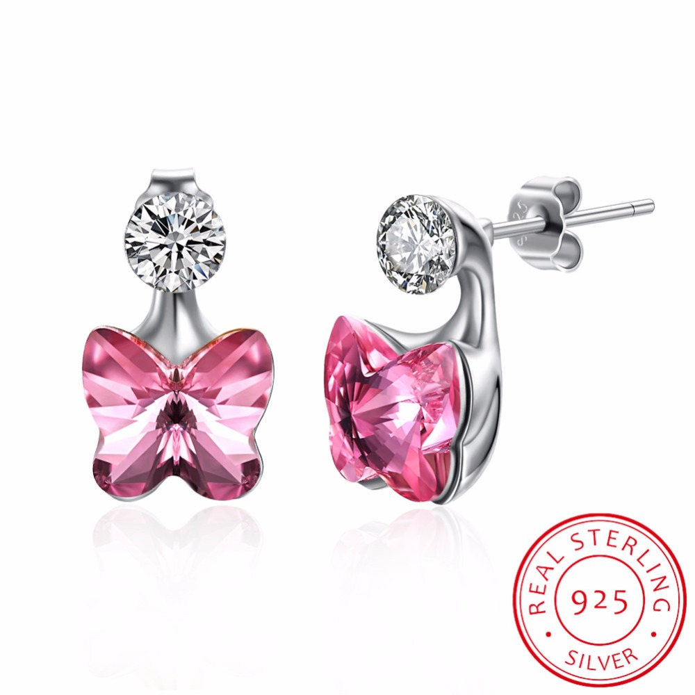 925 Sterling Silver Crystals form Austrian Blue/Pink Fashion Earrings Chic for Women Butterfly Jewelry Stud Earring Brincos pair of chic faux crystals rhinestone stud earrings for women