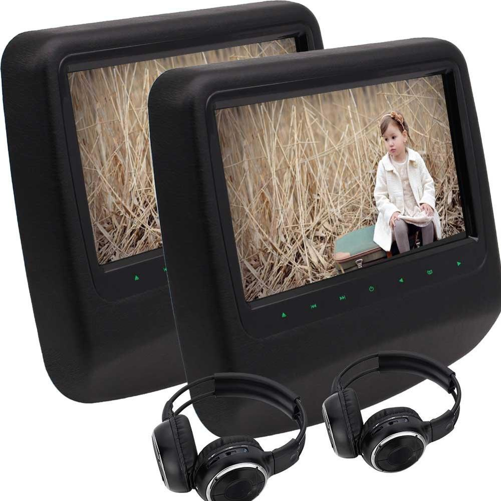 Twin Car Headrest DVD Player 9Digital Screen Backseat Monitor Support 32 Bit Game IR/FM Transmitter USB/SD HDMI iput+headphone