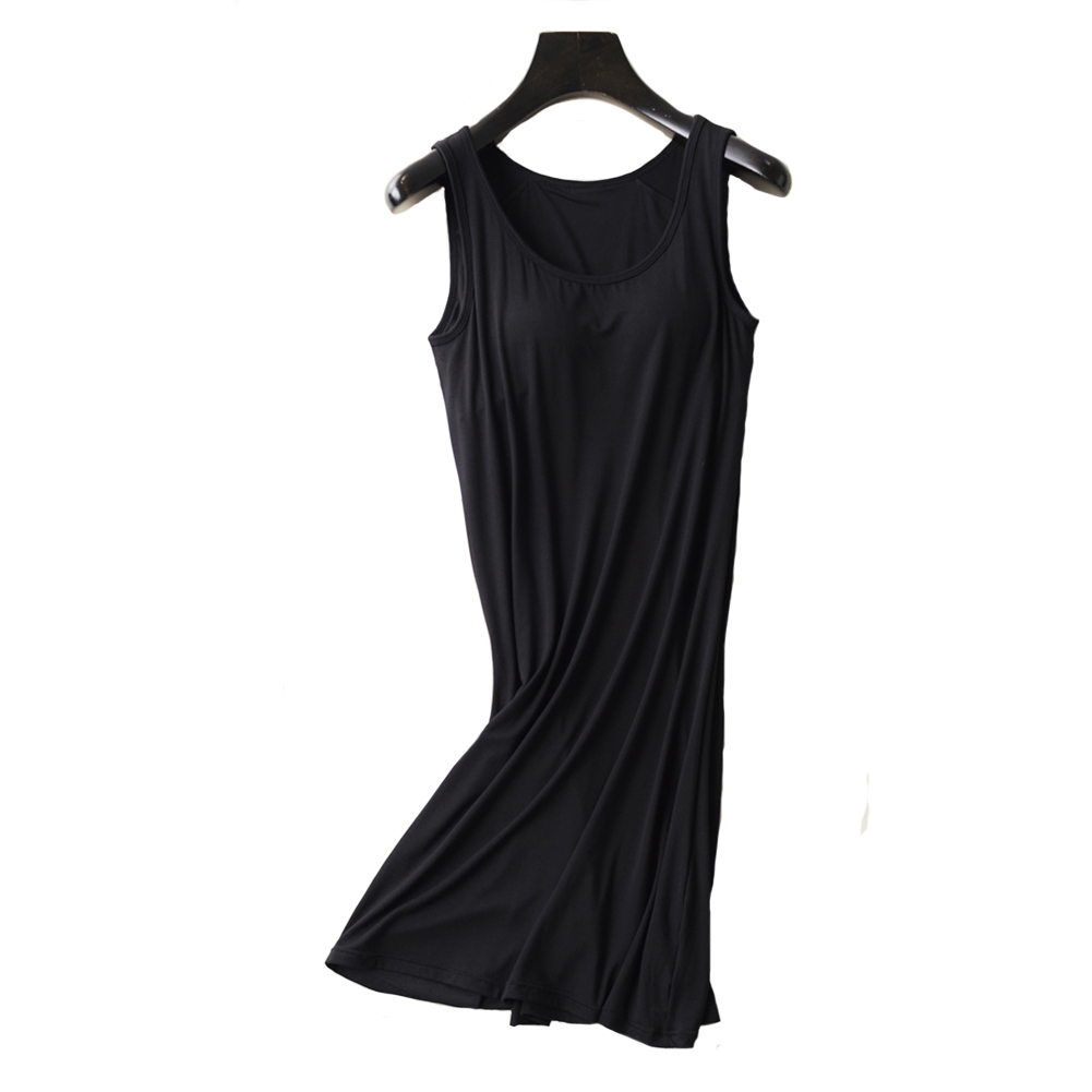 Womens Nightgown Built-in Shelf Bra Chemise Modal Night Dress Sleeveless Solid Lounge Nightdress Female Sleepwear Home Clothes