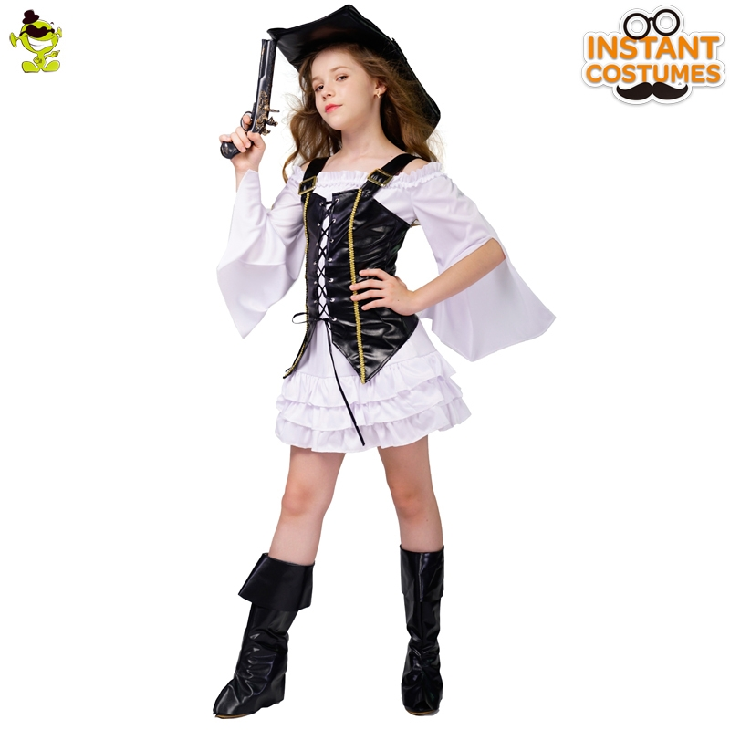 New Arrival Girl Deluxe Pirate Dress Cosplay Noble Child Girl Beauty Pirate Dress for Halloween Carnival Party Costume in Girls Costumes from Novelty Special Use