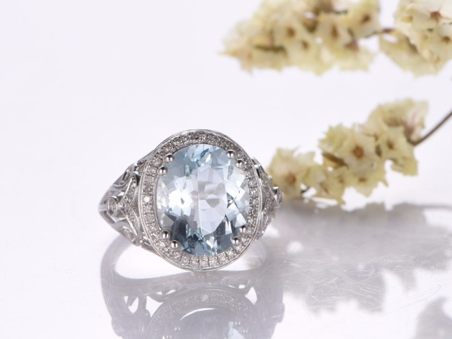 myray aquamarine engagement ring 5ct oval cut stone 14k goldvintage diamond bandbridal - Aquamarine Wedding Rings