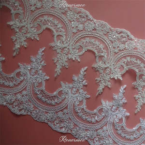 Trim Cording Fabric Flower Mesh-Lace Applique Venice Sequin Wedding-Dec. Delicate White/ivory