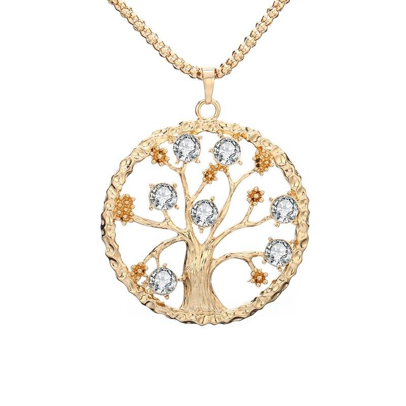 2018 Новый Дизайн Древо жизни кулон Цепочки и ожерелья CZ Кристалл бело-золотые розовое золото Для женщин Кольер индивидуальность партия Свадебные украшения