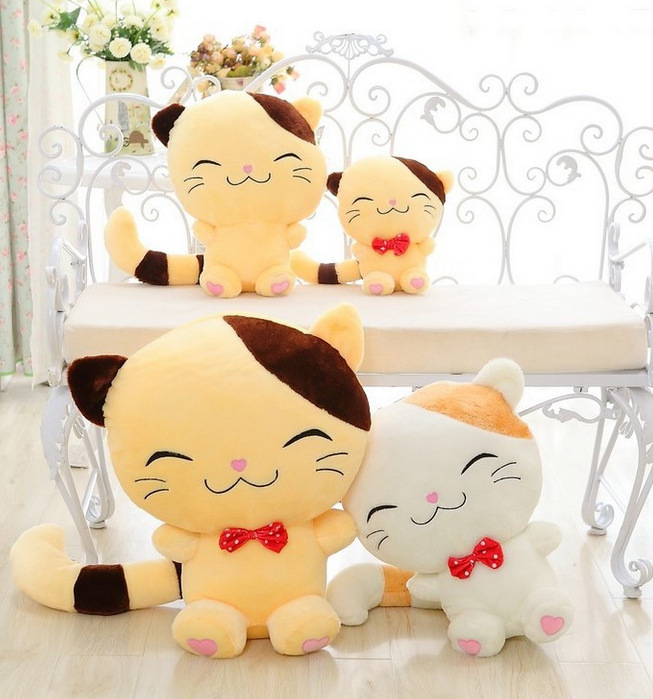 Lovely Big Tail Cat Doll Big Face Cat Plush Toy White -8264