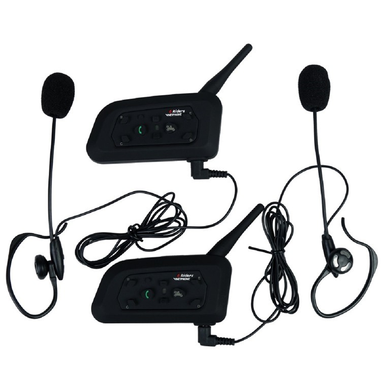 2PCS V6C 1200M Wireless Bluetooth Sccoer Referee Intercom Headset Full Duplex 2User Interphone Max 6Users with GPS for Skiing (1)